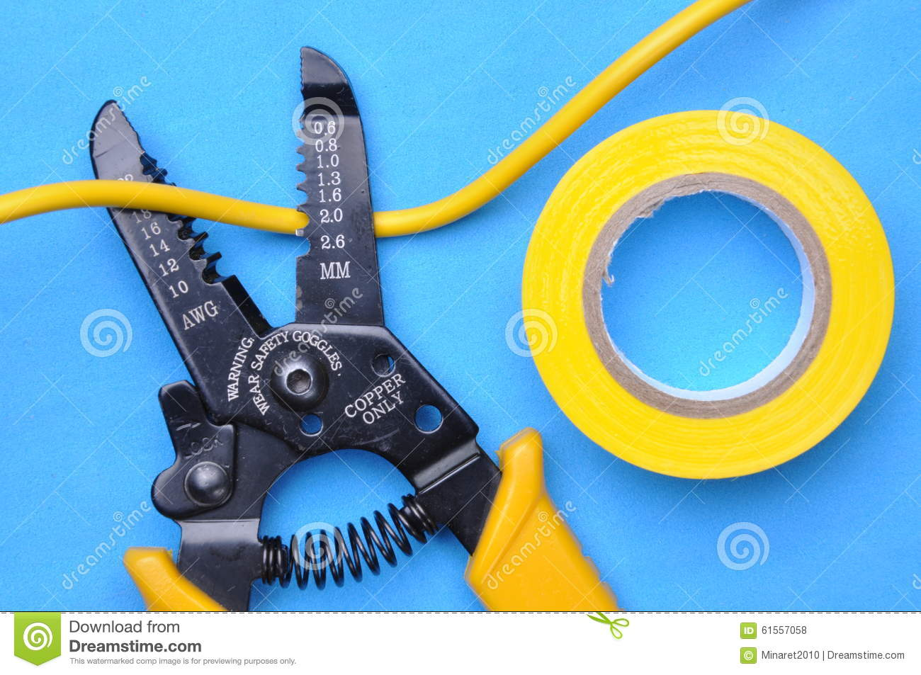 Wire Stripper, Insulation Tape And Cable Stock Photo - Image