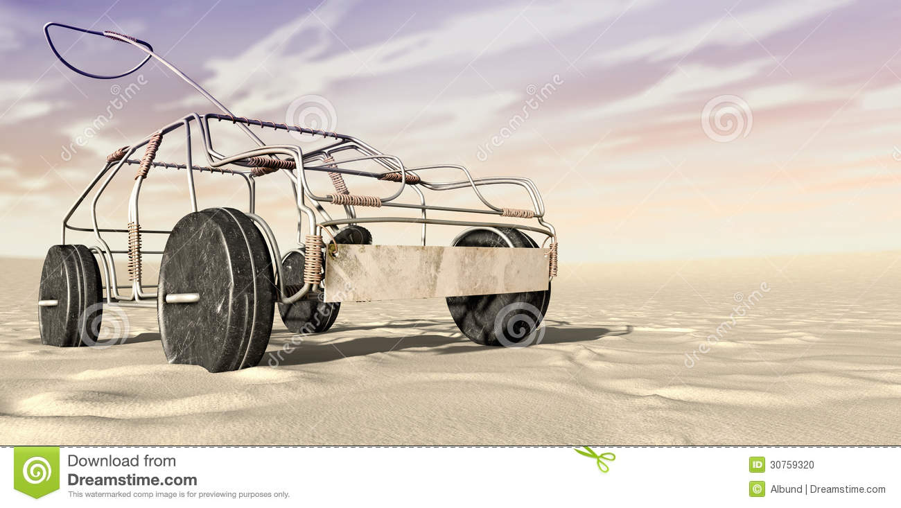 Vehicle Wiring Copper Aluminum : Wire toy car in the desert perspective stock illustration