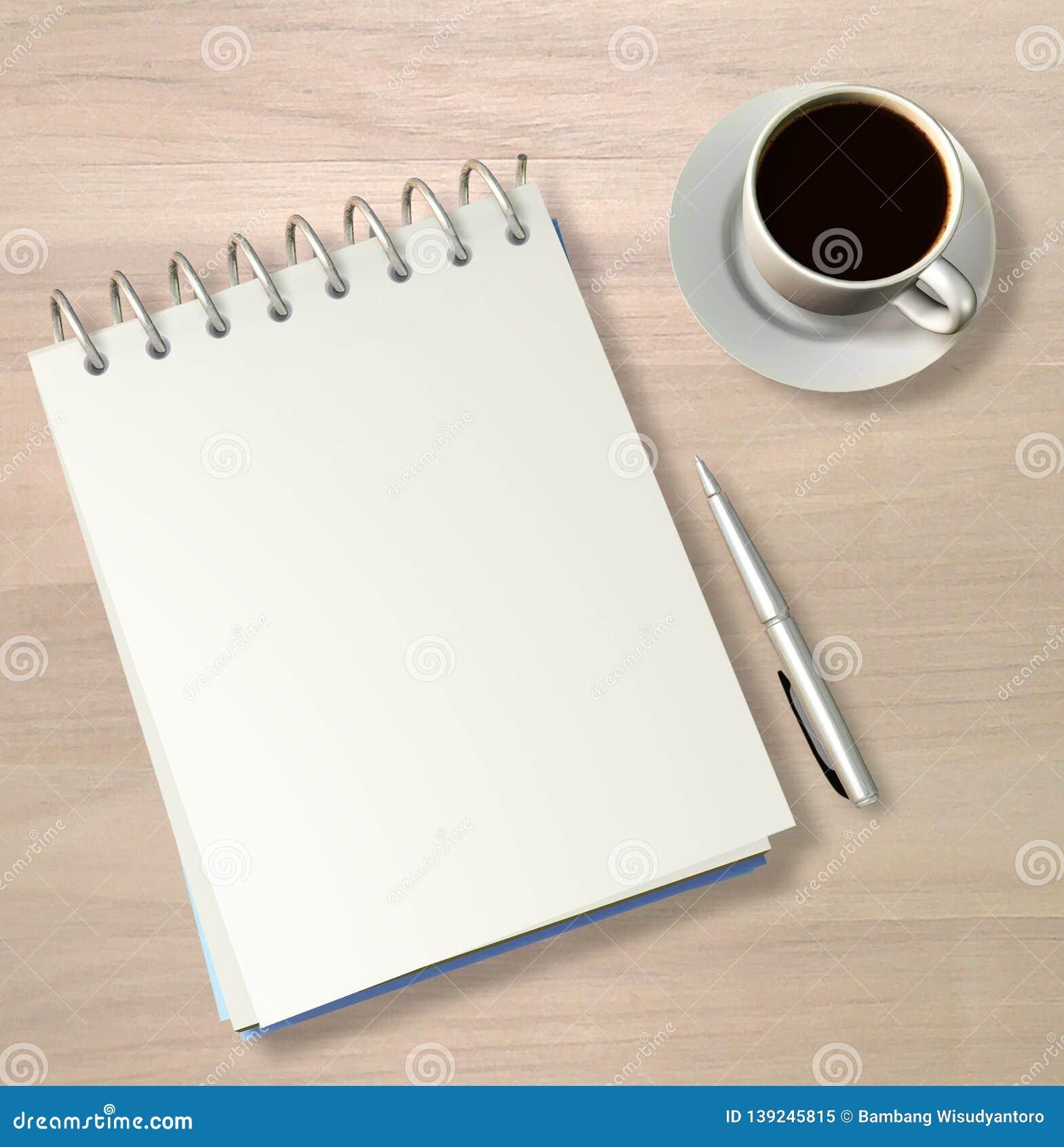 Wirebound Note Book, Pen And Black Coffee - 3D Render