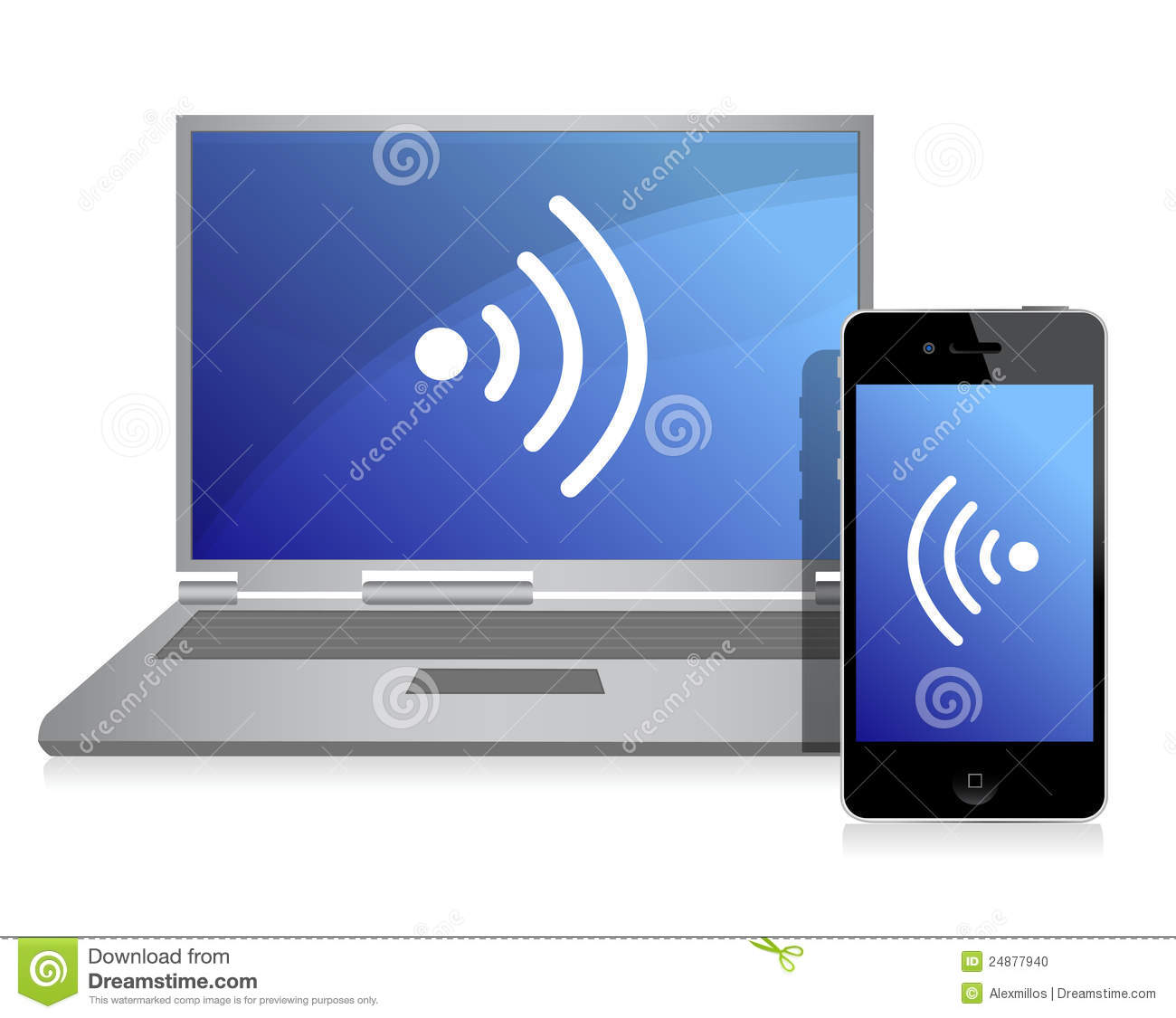 Wired Connection Between Mobile Phone And Laptop Stock Vector ...