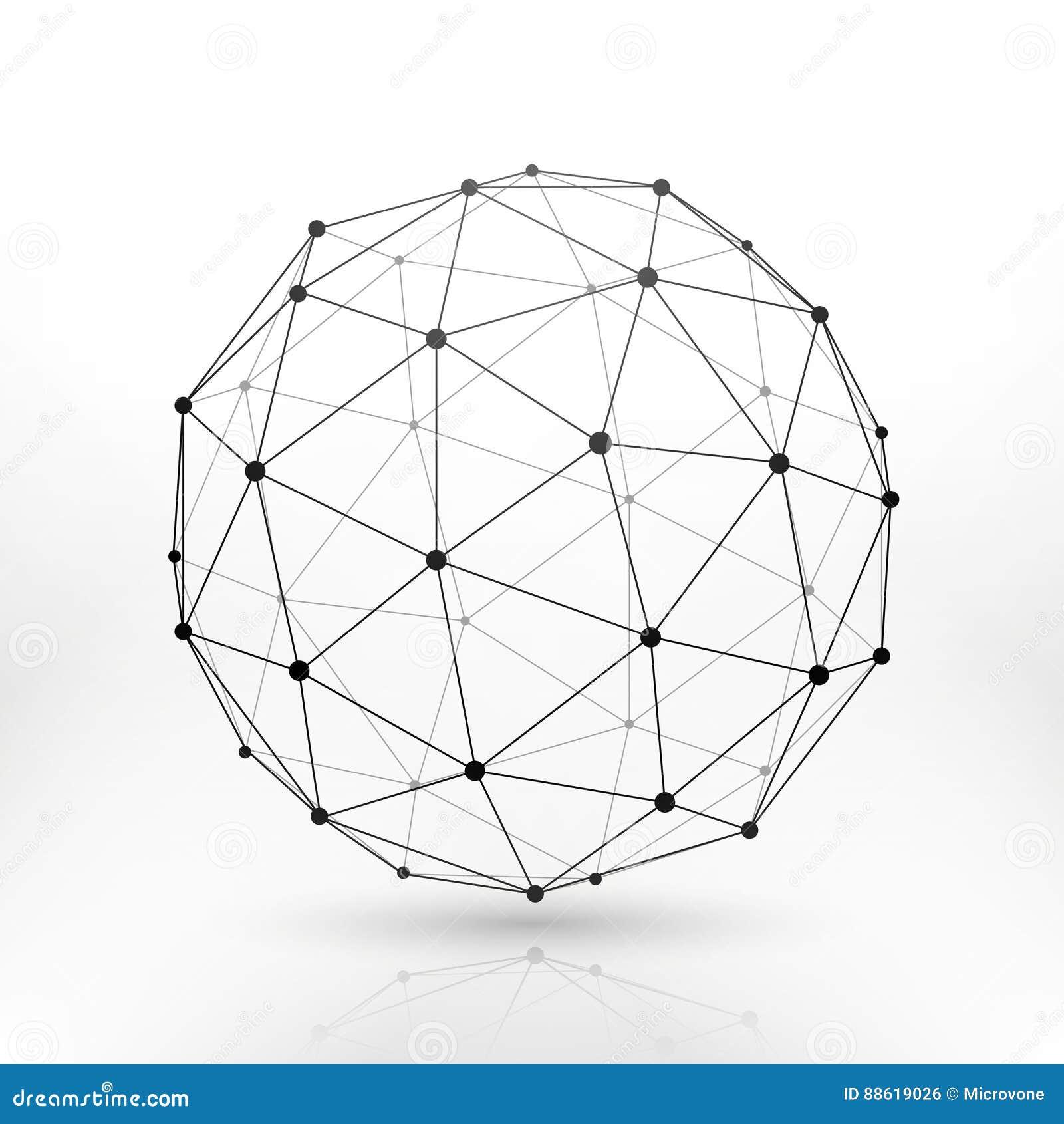 Wireframe地球球形,连通性,网络技术连接传染媒介概念