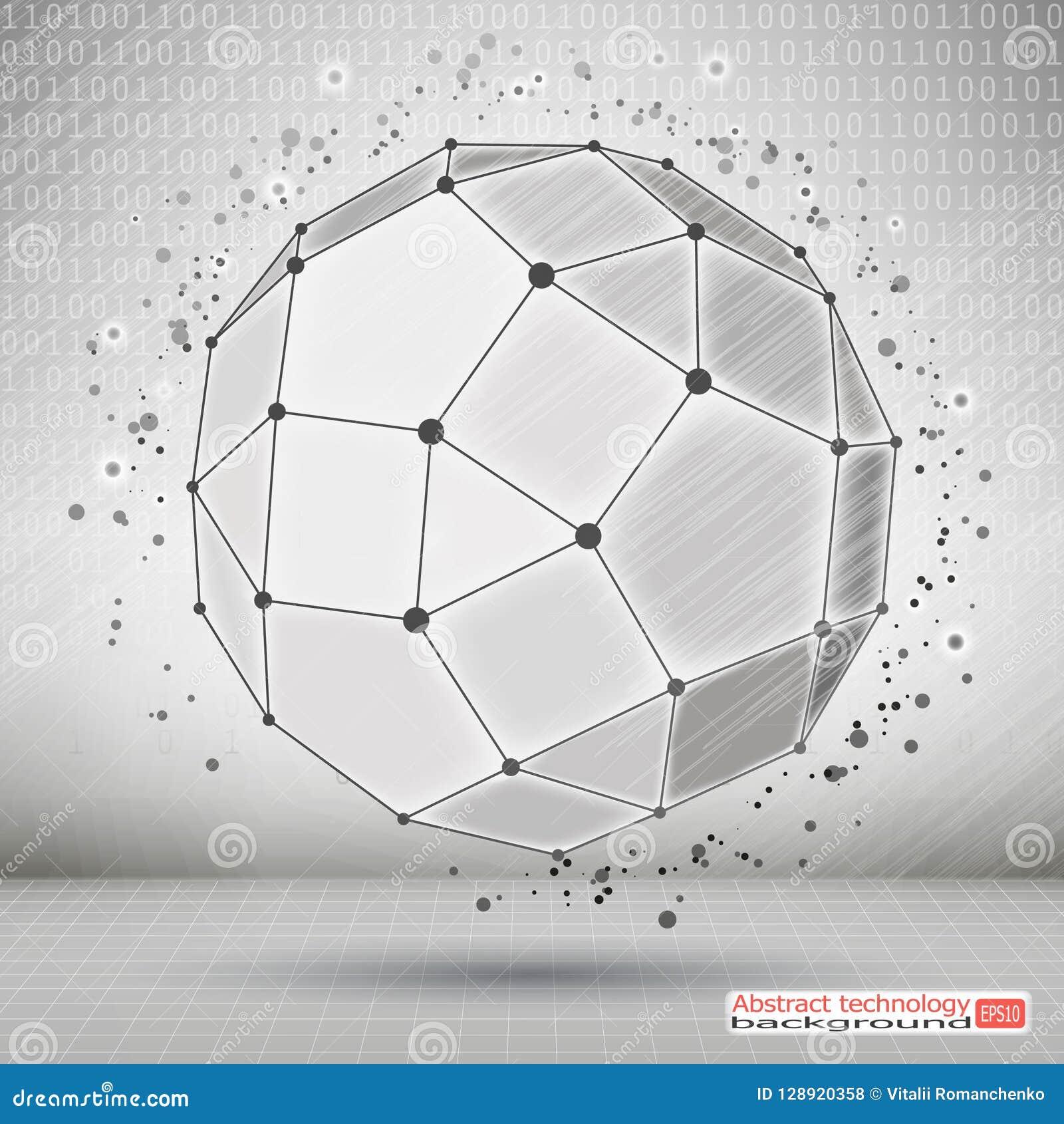 Wireframe多角形元素 技术发展和通信 与稀薄的线的抽象几何3D对象