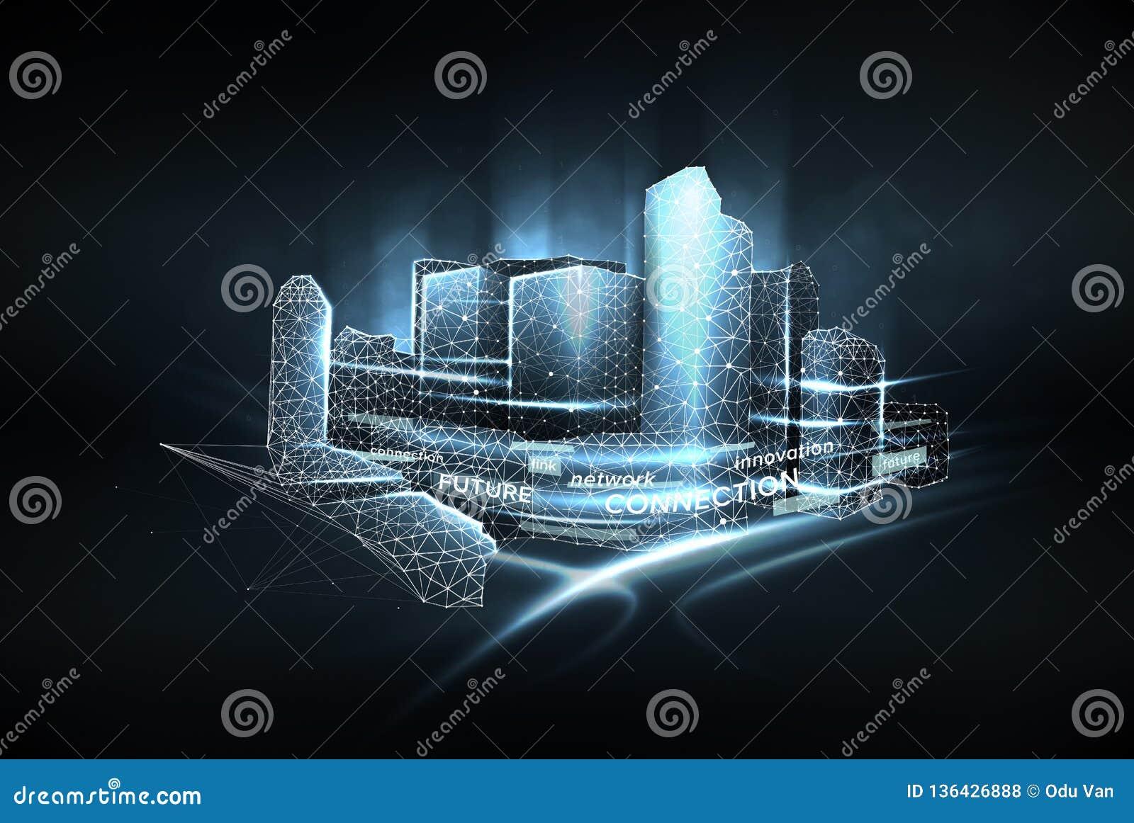 Wireframe города низкое поли Концепция умной сети города, связи интернета и цифровой системы регулирования дорожного движения
