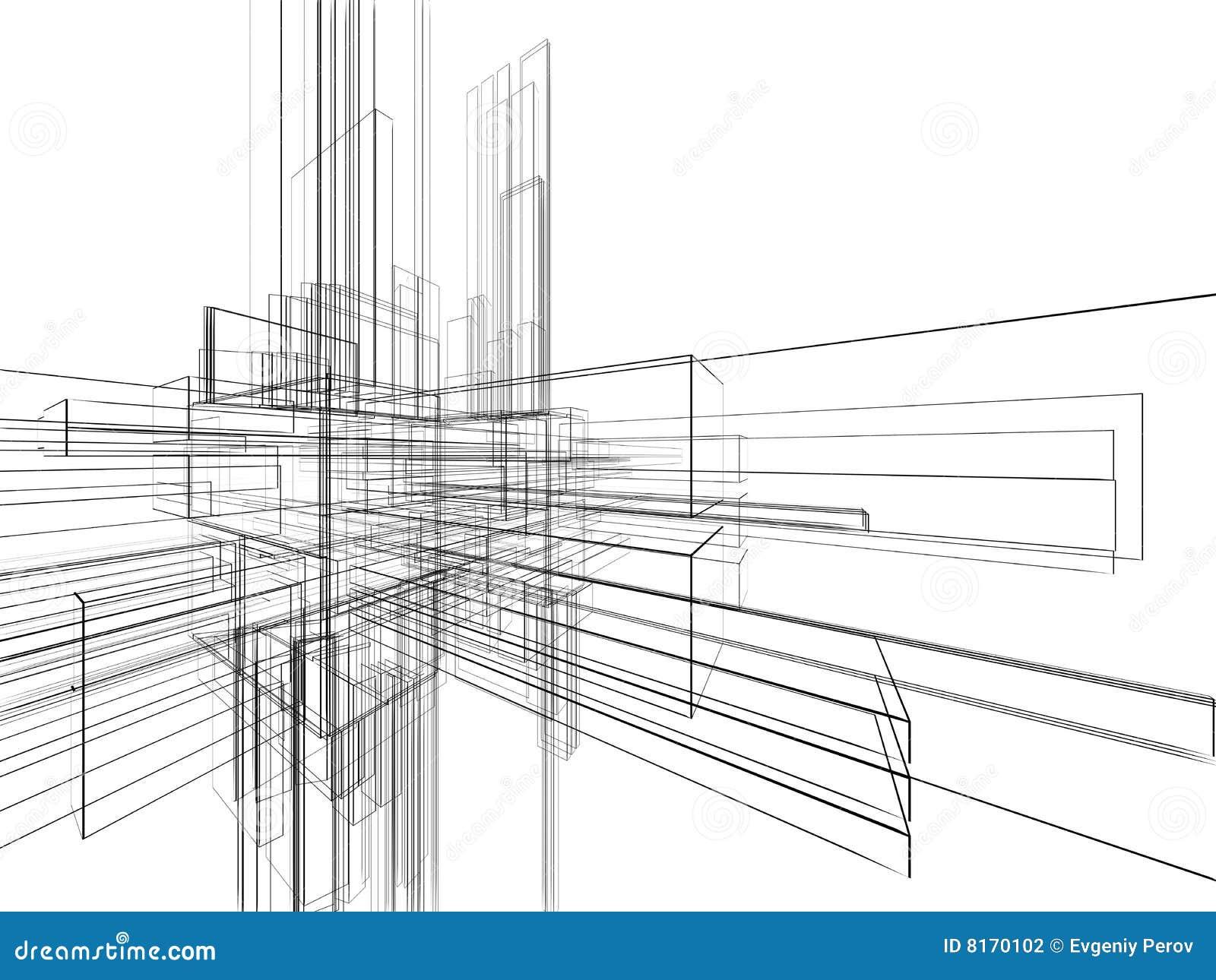 Wireframe Abstracto En El Fondo Blanco Stock de ilustración ...