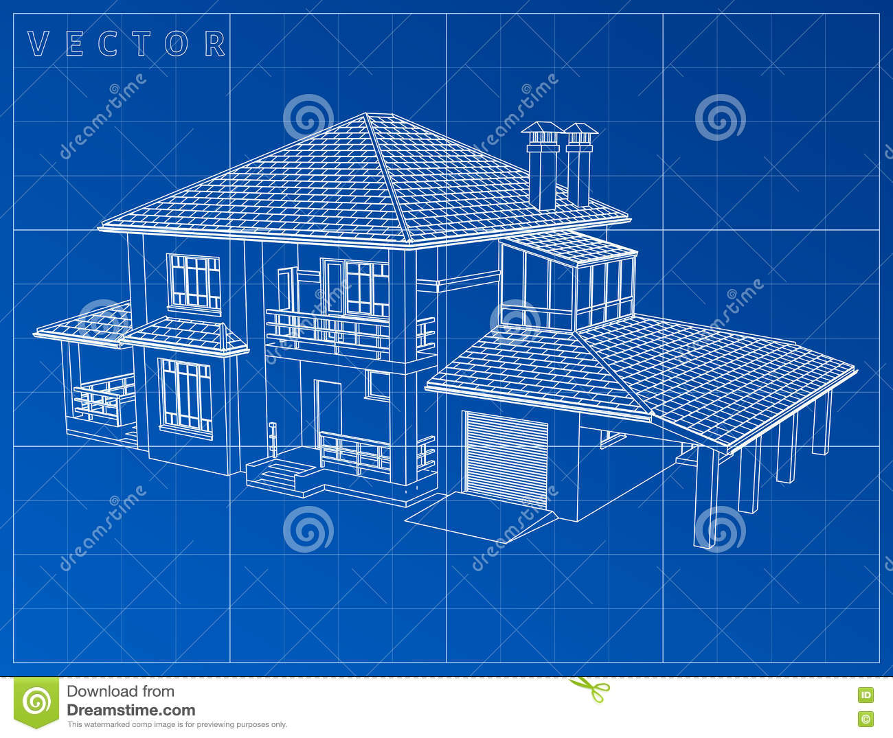 Wireframe Blueprint Drawing Of 3d House Vector