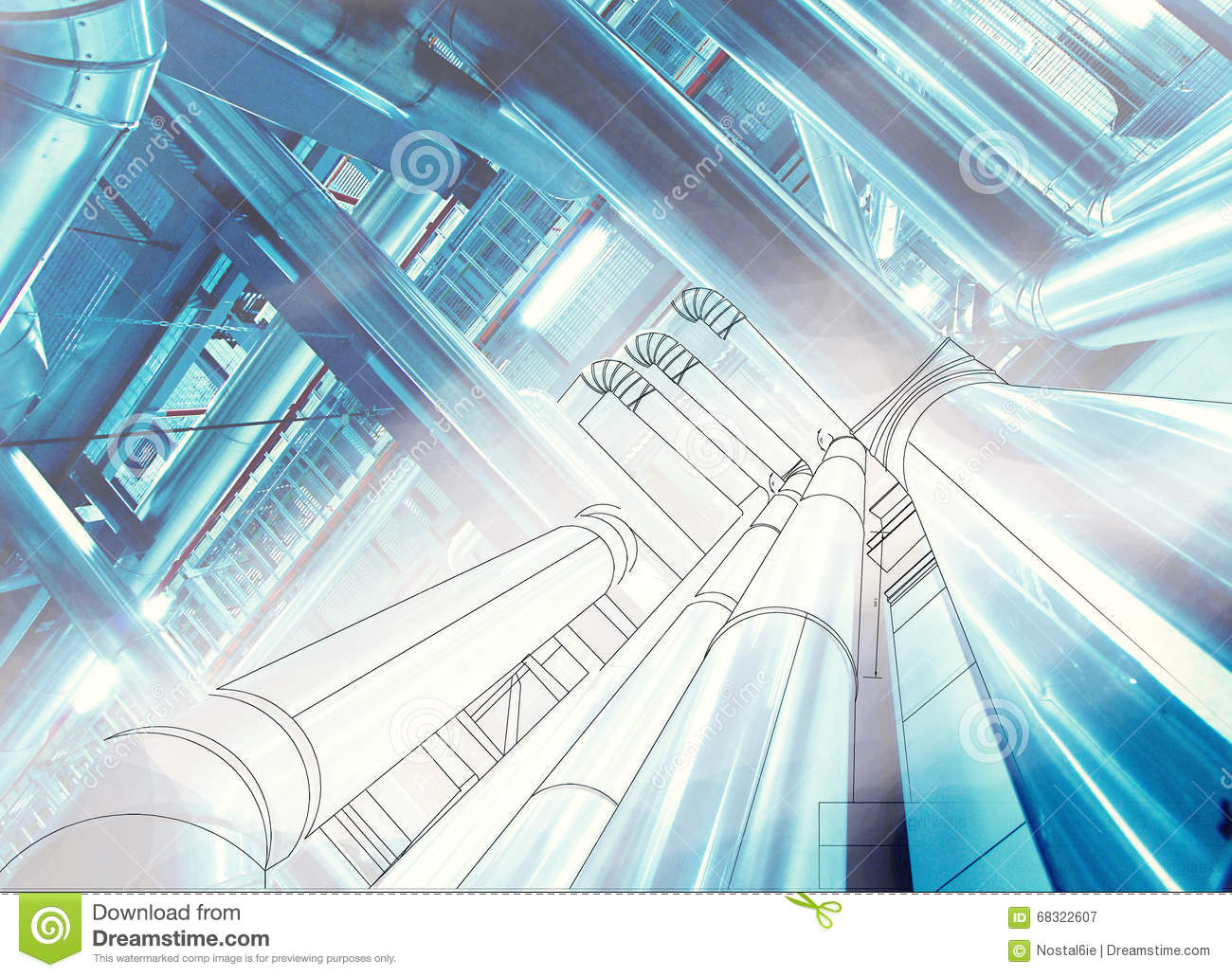 Wireframe Computer Cad Design Of Pipelines At Modern Industrial ...