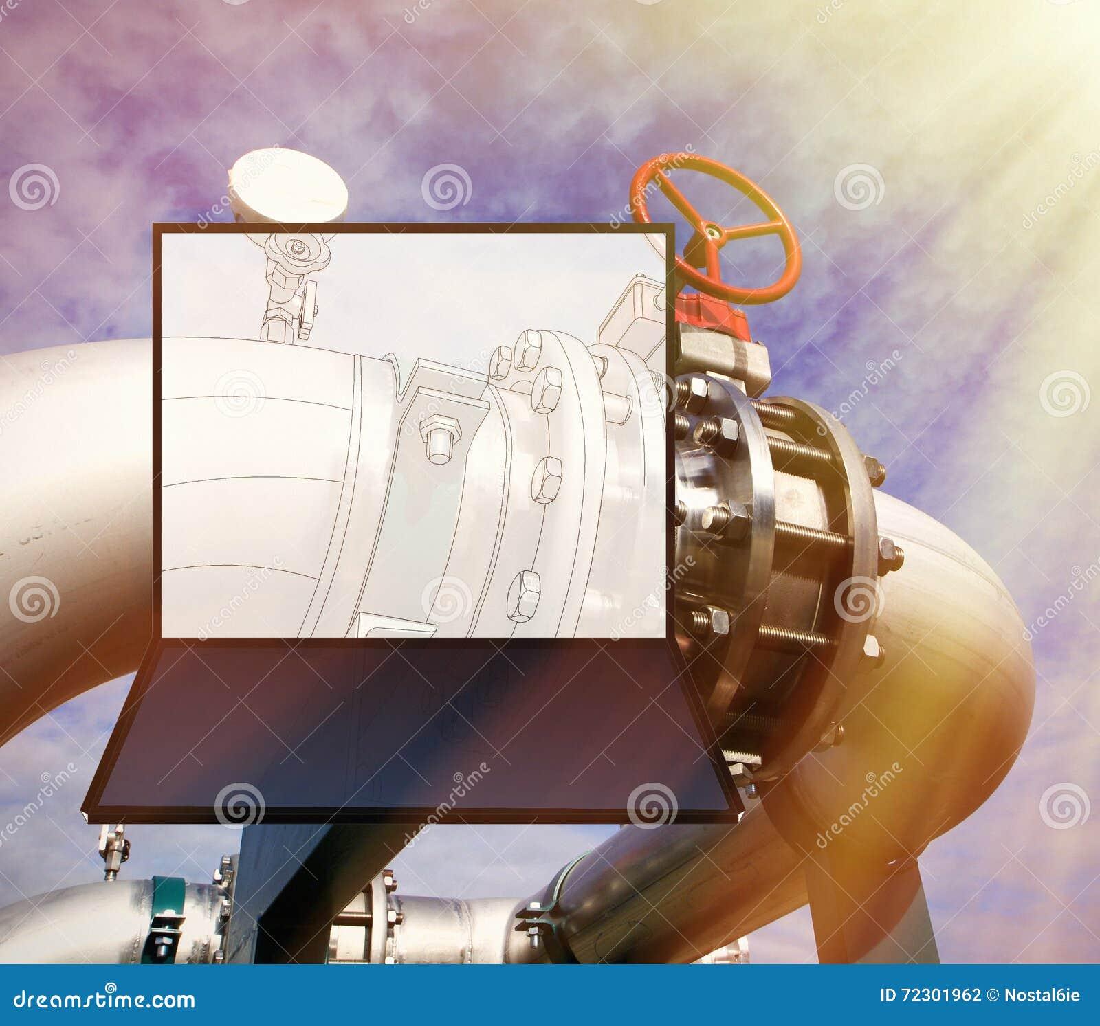 Wireframe-Computer cad-Design von Rohrleitungen