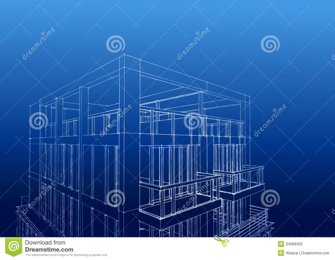 Wireframe Of Contemporary 3 Story Housedownload A Comp Save T Royalty Free Stock Photo Image