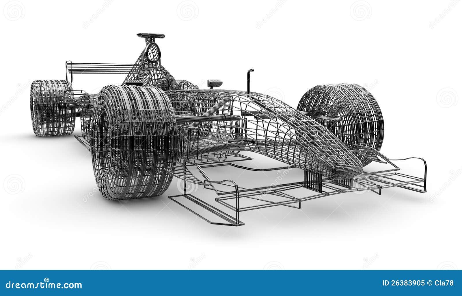 Wireframe formula 1 car stock illustration. Illustration of abstract ...