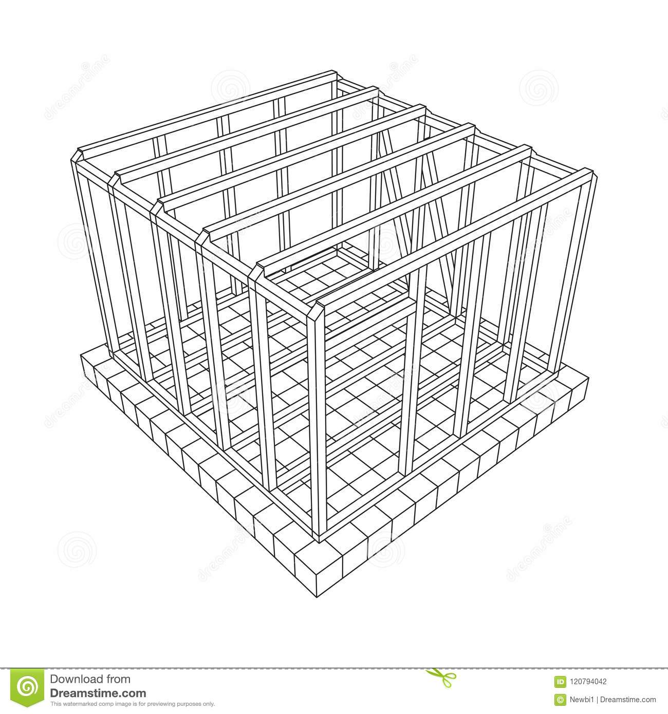 Wireframe framing house stock vector. Illustration of building ...