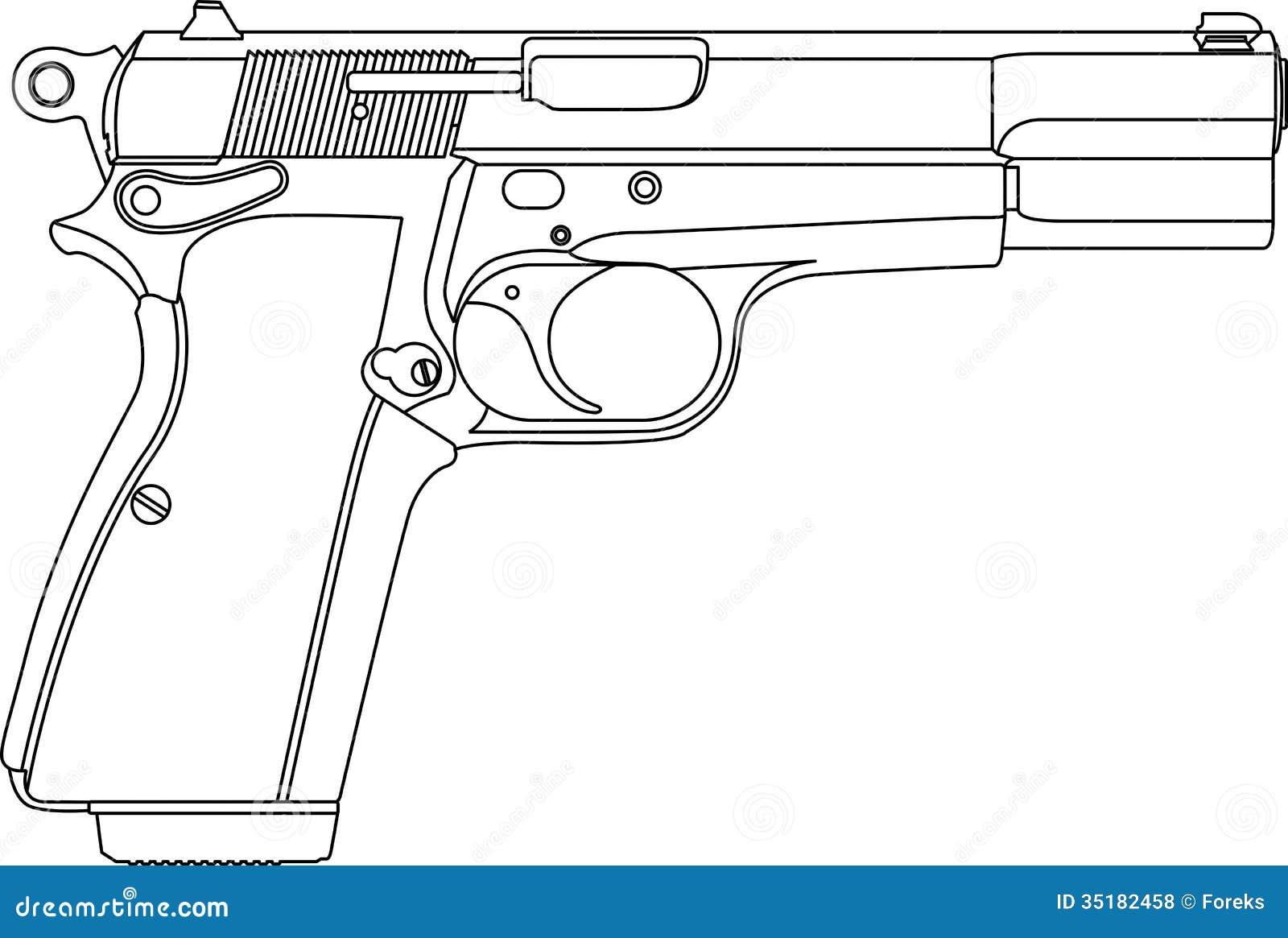 wireframe gun pistol stock vector  illustration of white