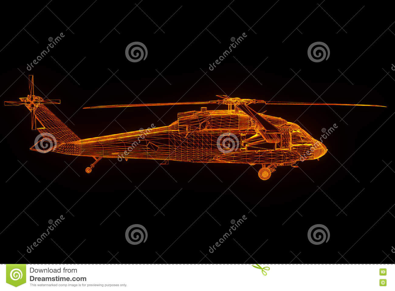 Wireframe Hologram Helicopter In Motion  Nice 3D Rendering