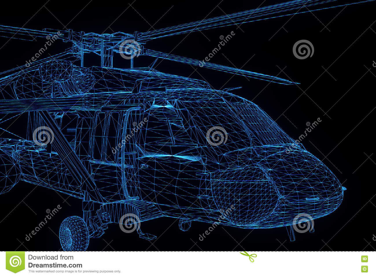 Wireframe Hologram Helicopter In Motion  Nice 3D Rendering Stock