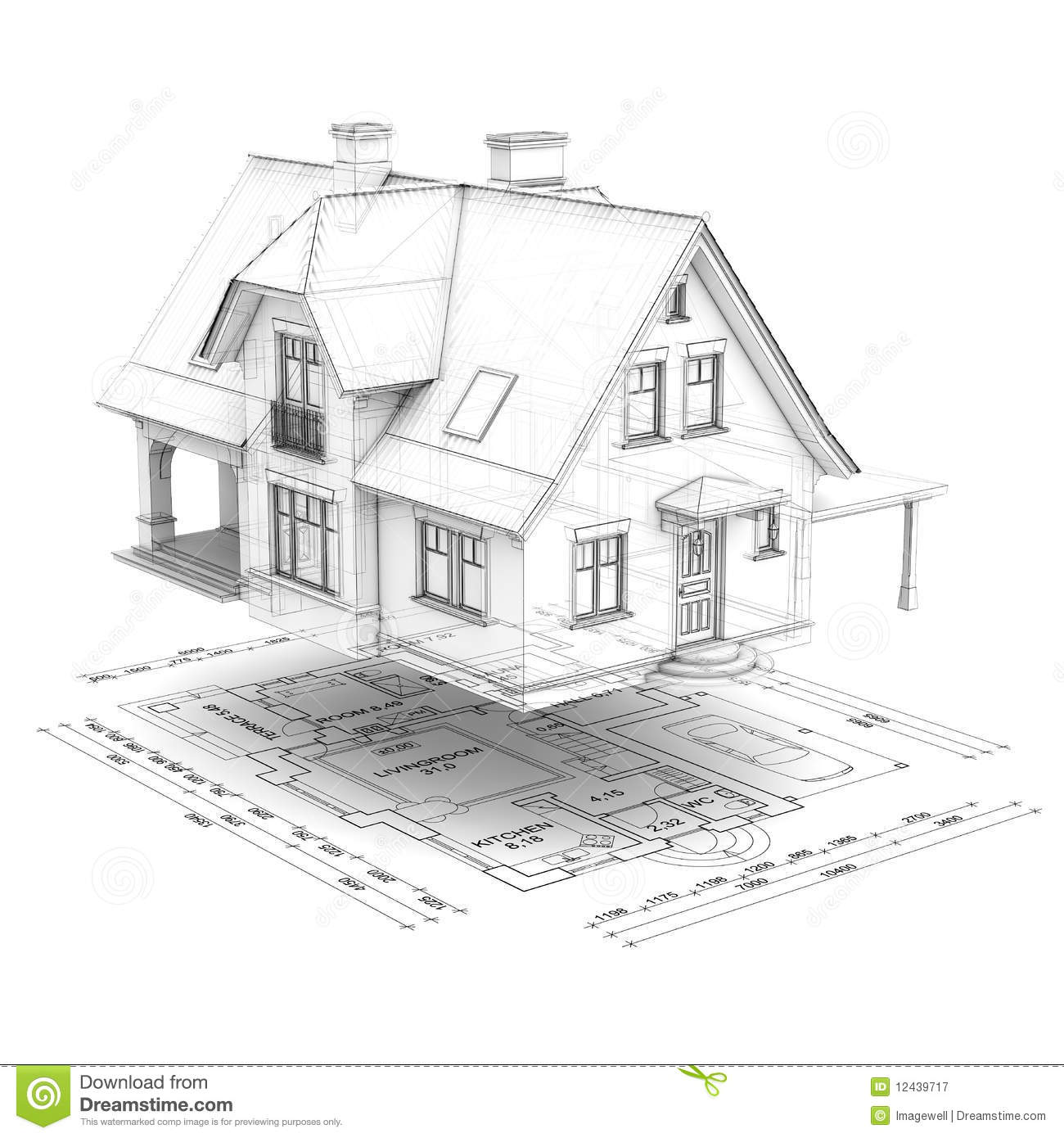 wireframe house with floor plan stock illustration