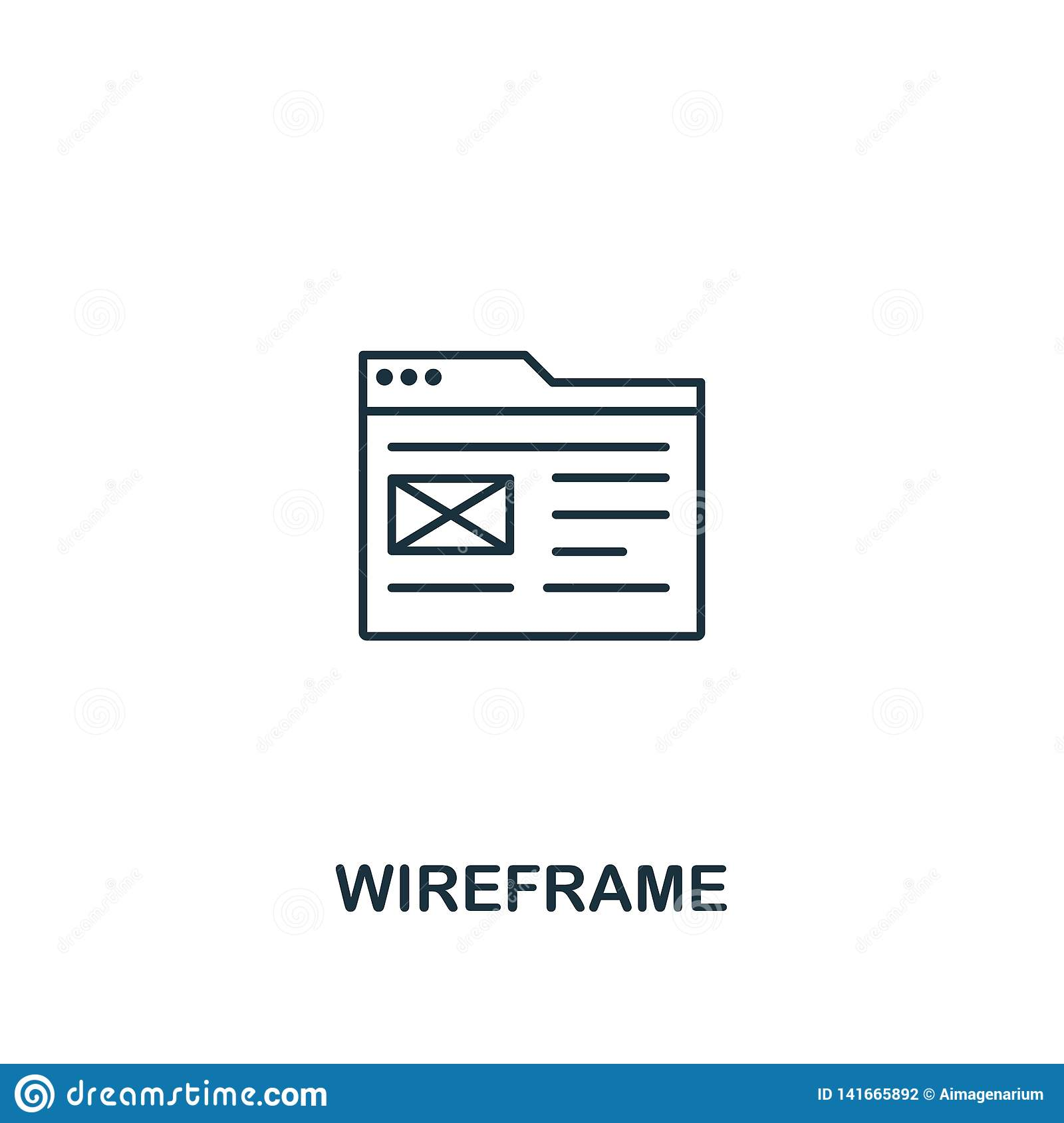 Wireframe icon. Thin outline style design from design ui and ux icons collection. Creative Wireframe icon for web design