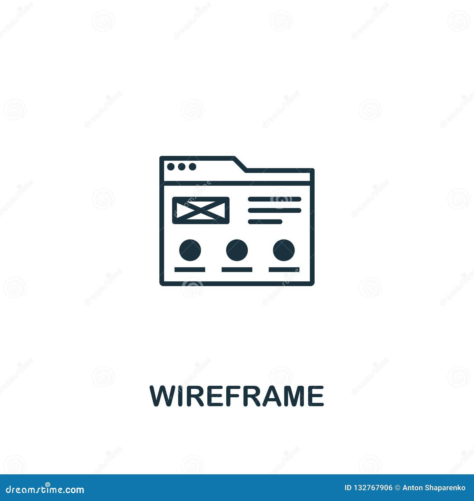 Wireframe-Ikone Erstklassiger Artentwurf von Entwurf ui und von der ux Ikonensammlung Pixel perfekte Wireframe-Ikone für Webdesig