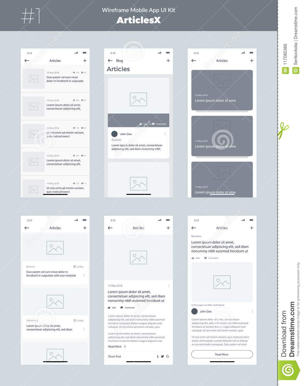 wireframe kit for mobile phone. mobile app ui, ux design