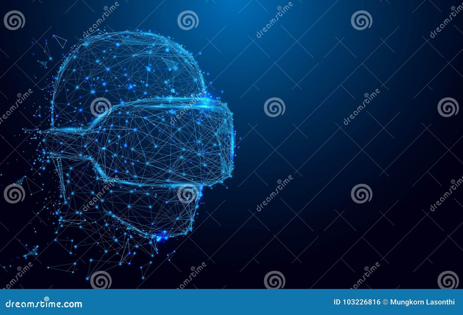 Wireframe-Mann mit VR-Kopfhörer-Zeichenmasche von einem sternenklaren und beginnen oben Konzepthintergrund Zukünftiges Technologi