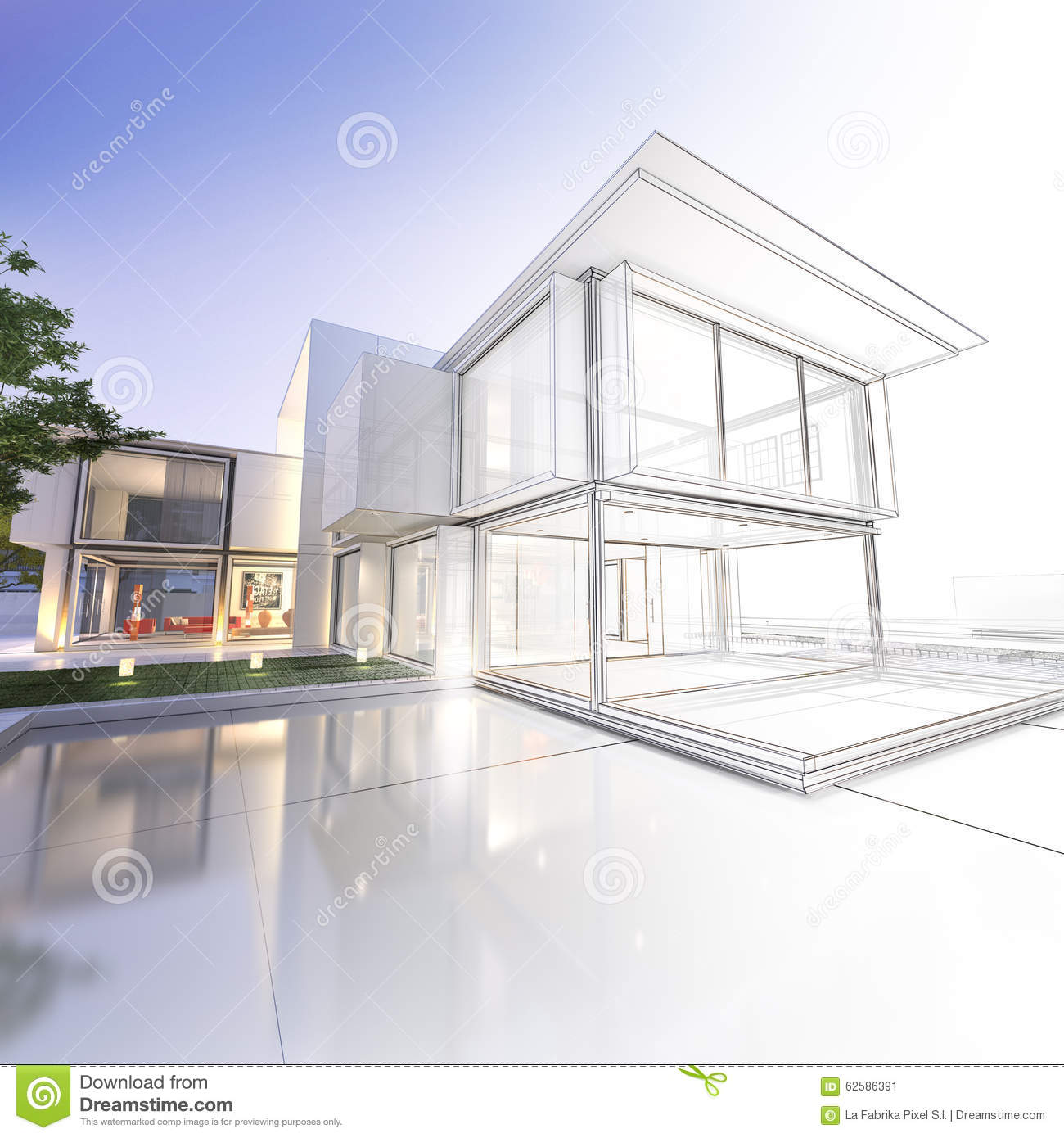 Drawing Property Lines In Revit : Wireframe mansion stock illustration image