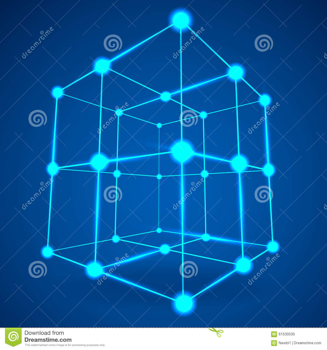Wireframe Mesh Cube. Connected Dots And Lines. Home Design Ideas
