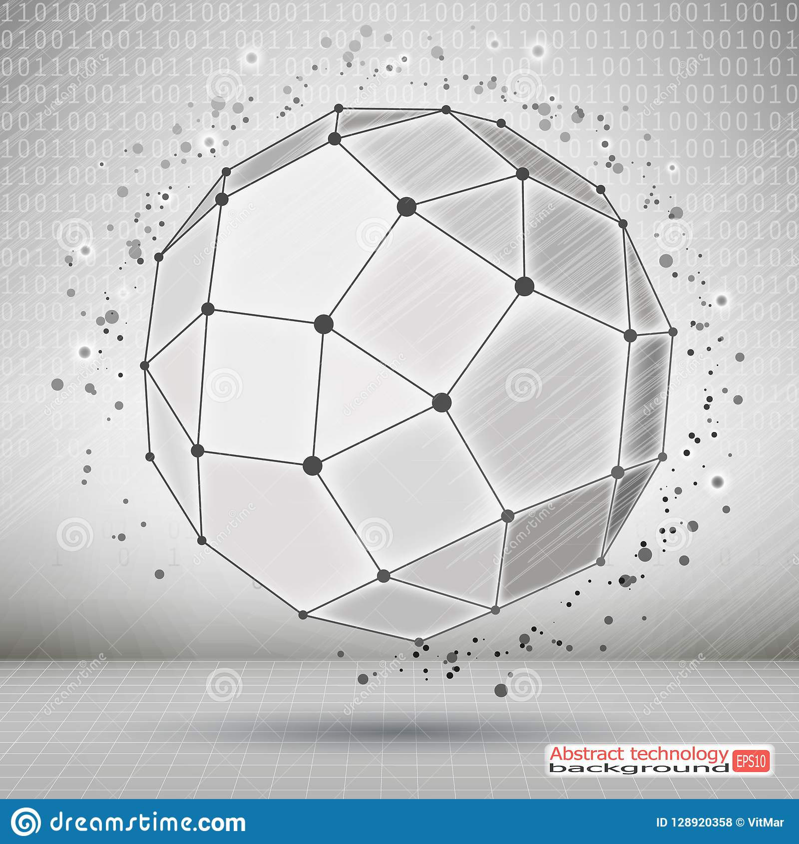 Wireframe Polygonal beståndsdel Teknologisk utveckling och kommunikation Abstrakt geometriskt objekt 3D med tunna linjer