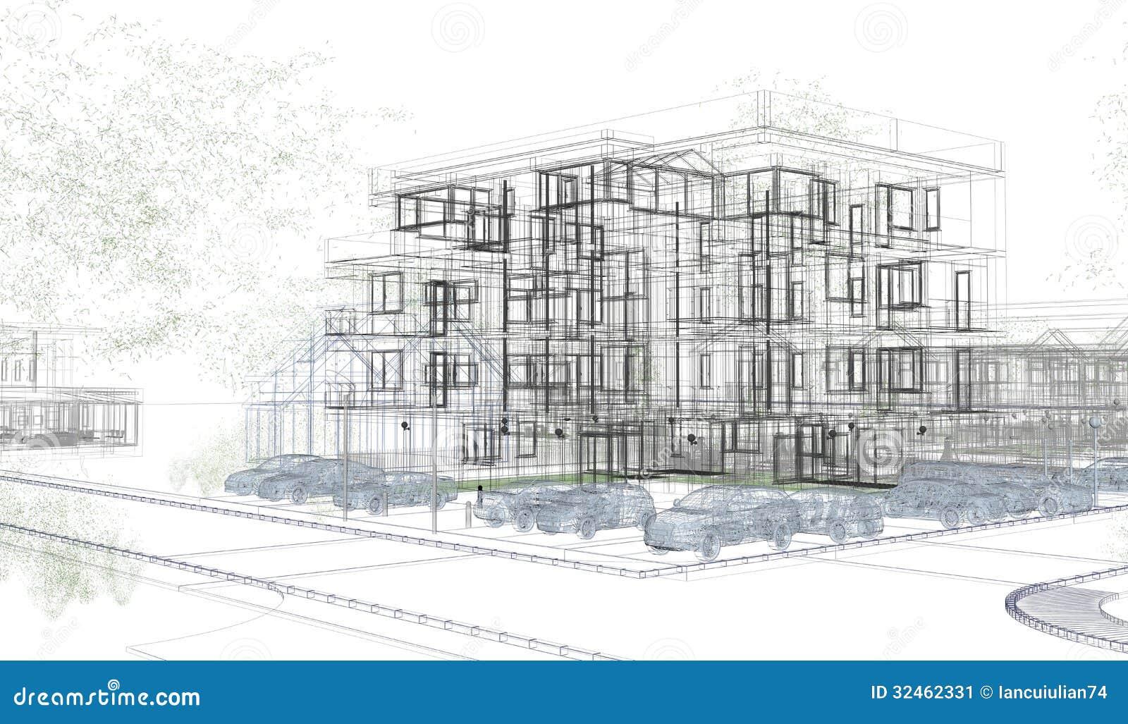 Wireframes exteriores del edificio, representación del diseño, arquitectura