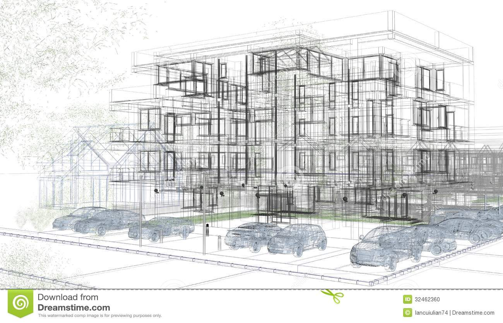 Wireframes exteriores del edificio representaci n del - Arquitectura de diseno ...