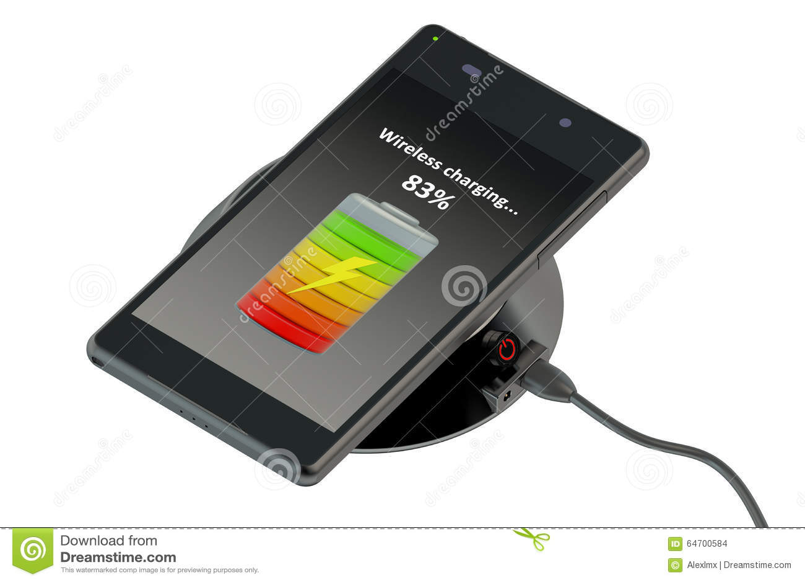 wireless charging of smartphone stock illustration image 64700584. Black Bedroom Furniture Sets. Home Design Ideas