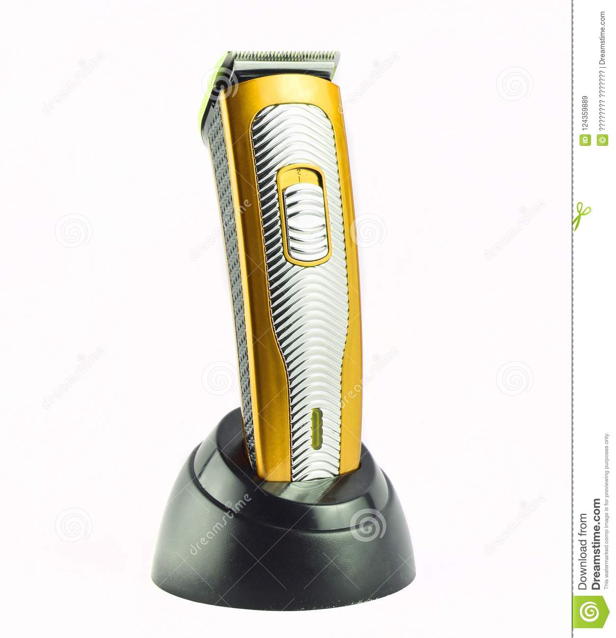 Wireless clipper stands on a charging station isolated on a whit