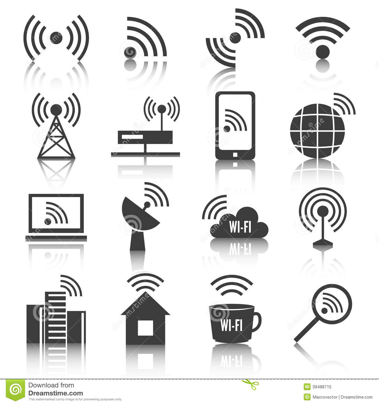 wireless communication network icons set stock vector