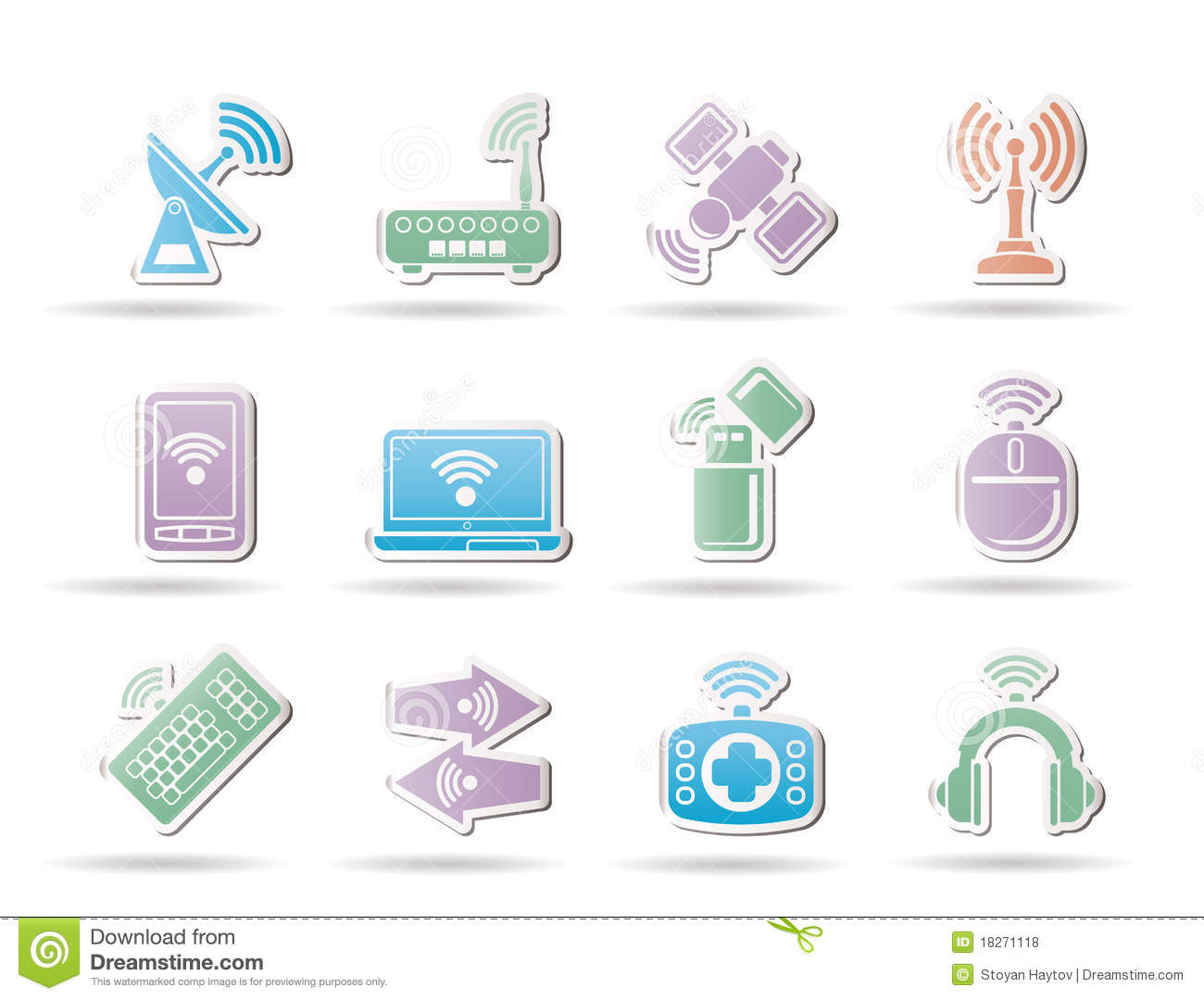 Wireless And Communication Technology Objects Royalty Free