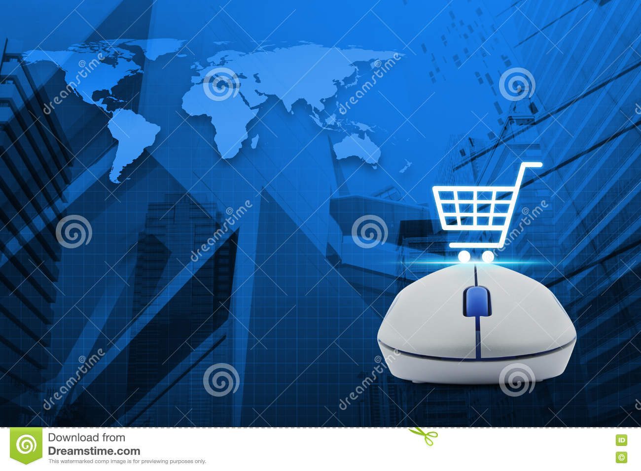 75311b248b2 Wireless Computer Mouse With Online Shopping Icon Over Map And C ...