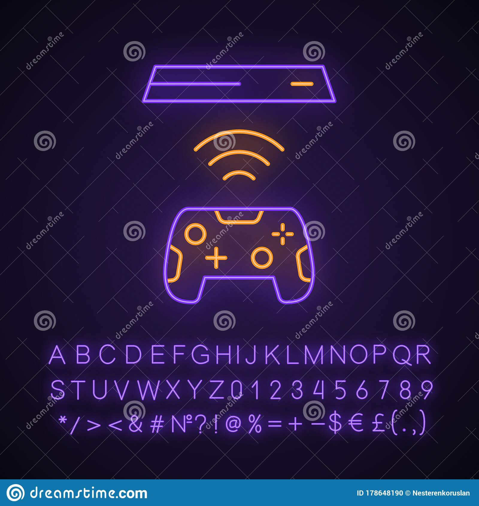 Wireless Gaming Controller Neon Light Icon Stock Vector Illustration Of Entertainment Controller 178648190