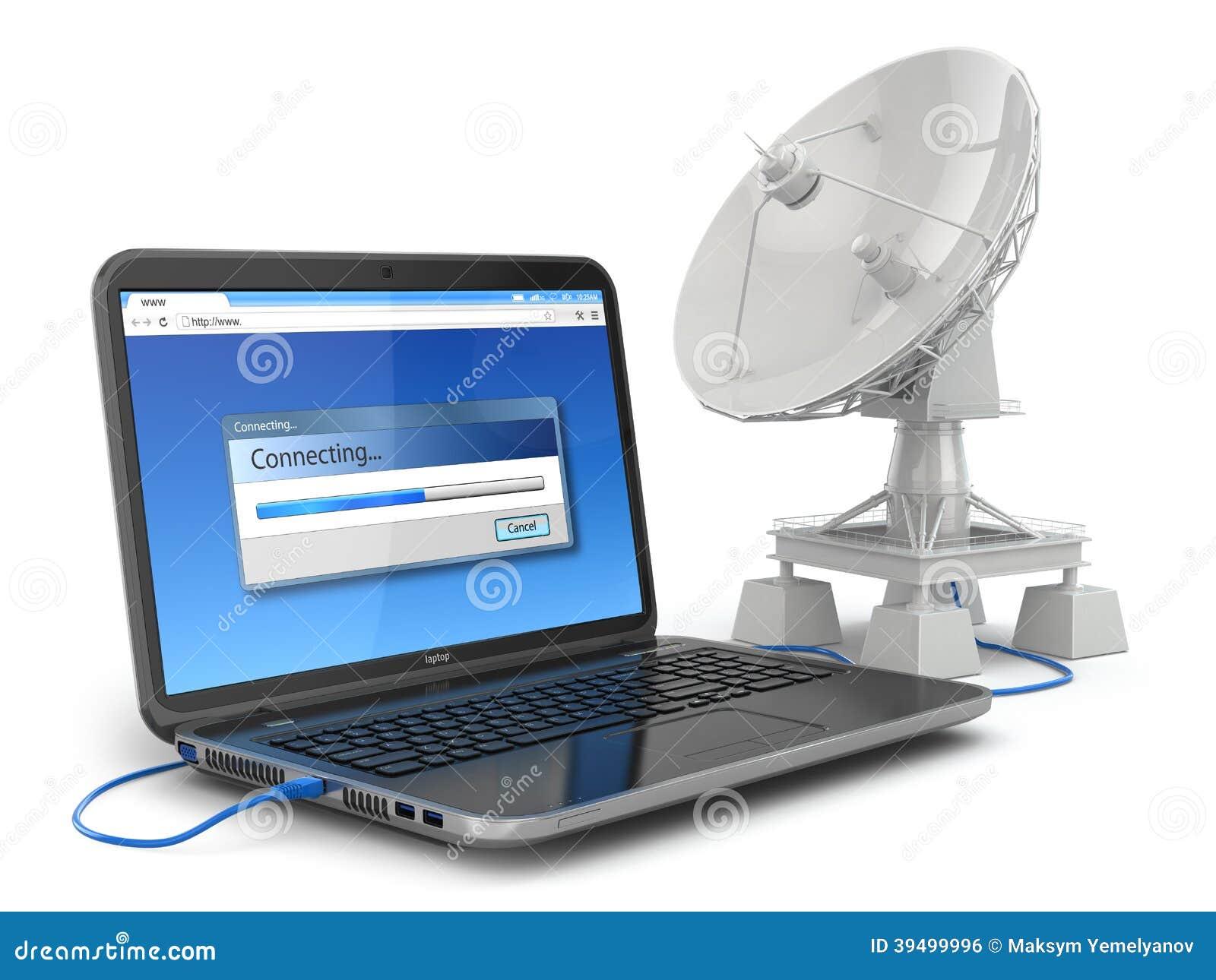 Wireless Internet Equipment ~ Wireless internet concept laptop and satellite dish