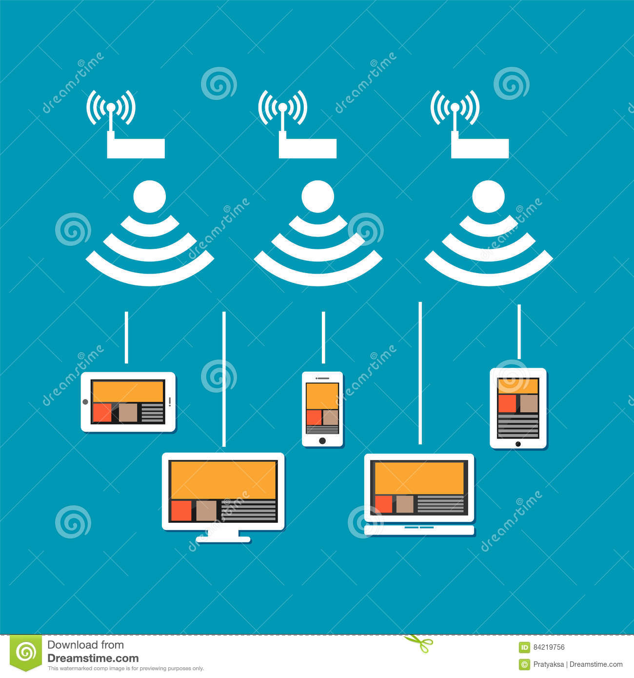 Wireless Network Connection Concept. Wireless Communication On ...