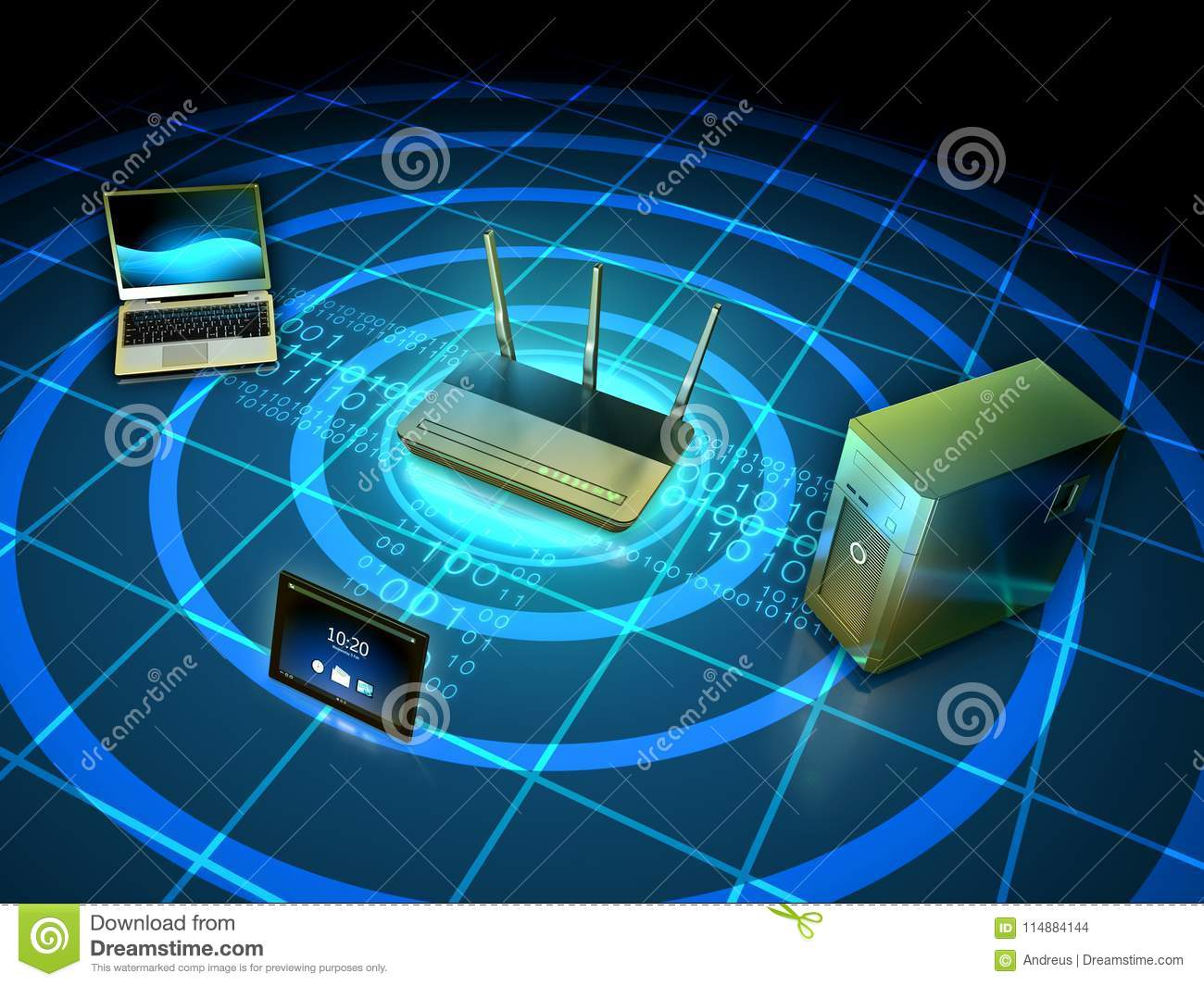 Wireless network setup stock illustration. Illustration of broadband ...