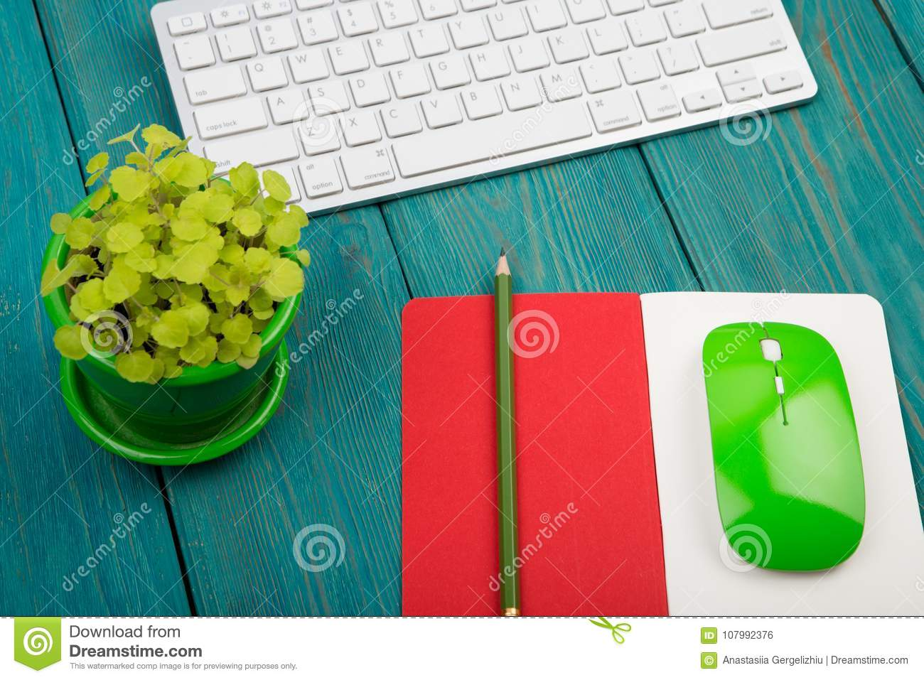 Wireless Slim White Keyboard And Green Mouse Notepad Flower On