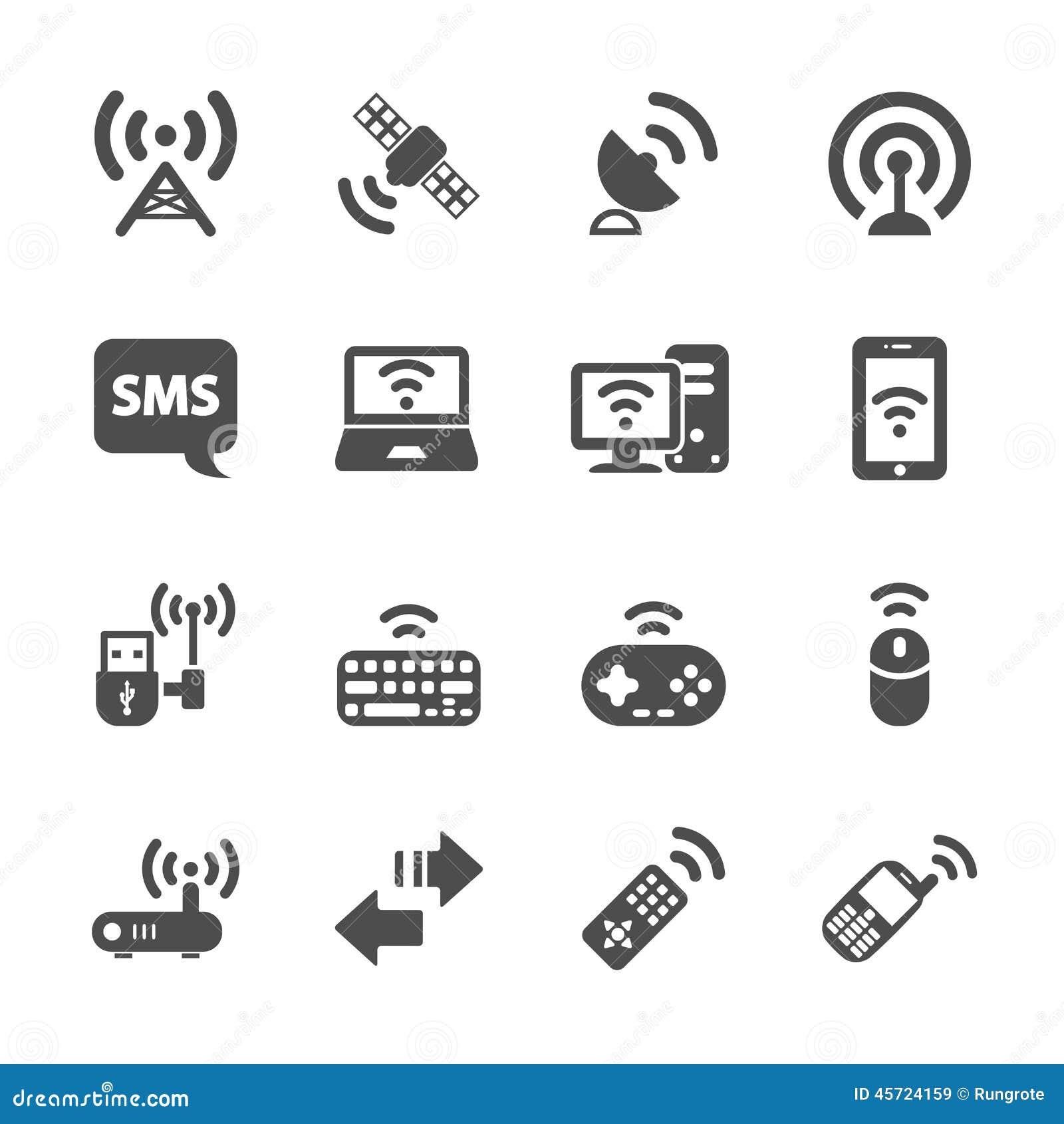 Wireless technology communication icon set, vector eps10