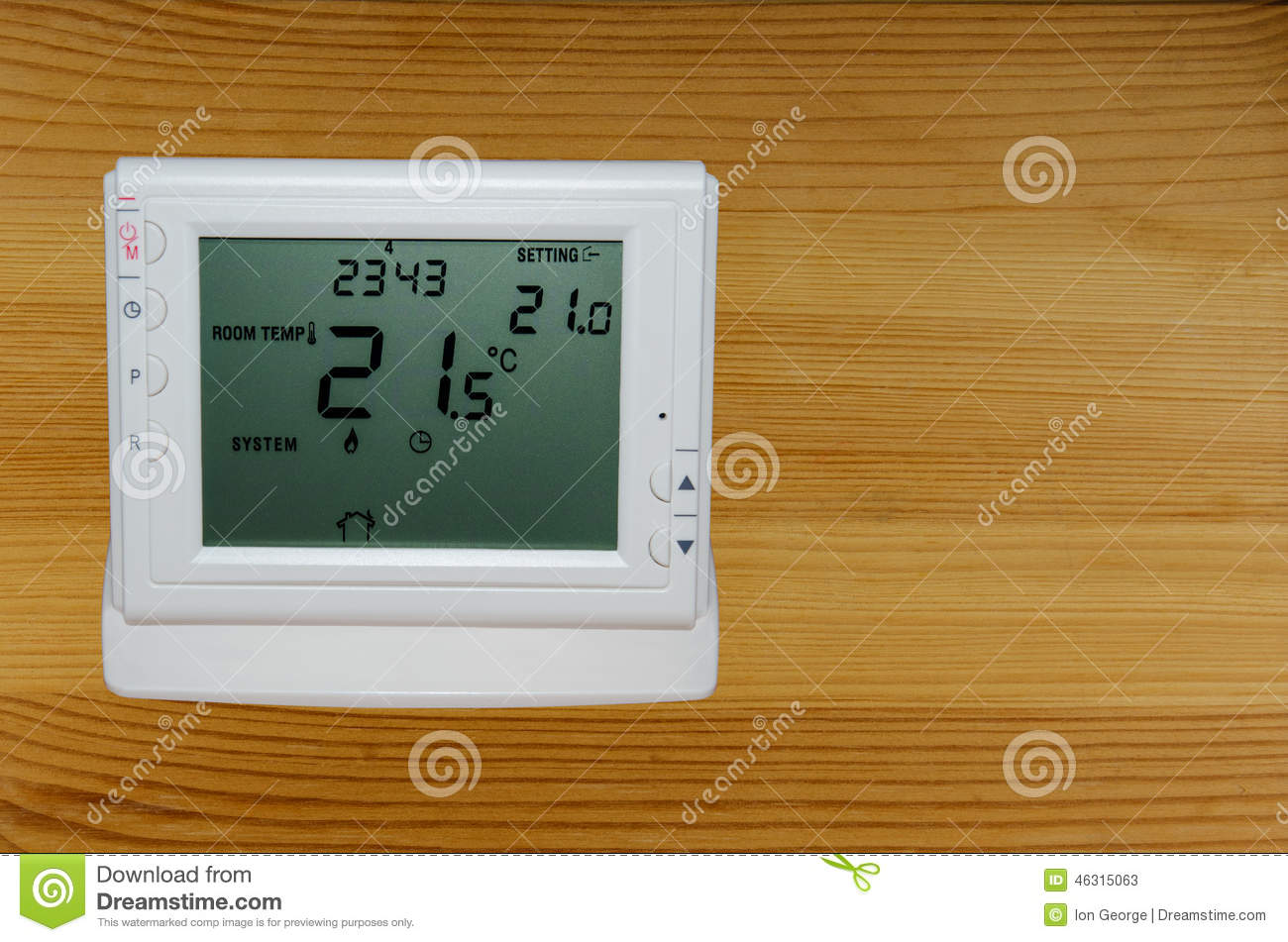Wireless Thermostat For Ambient Temperature Control Stock Image Room Controller