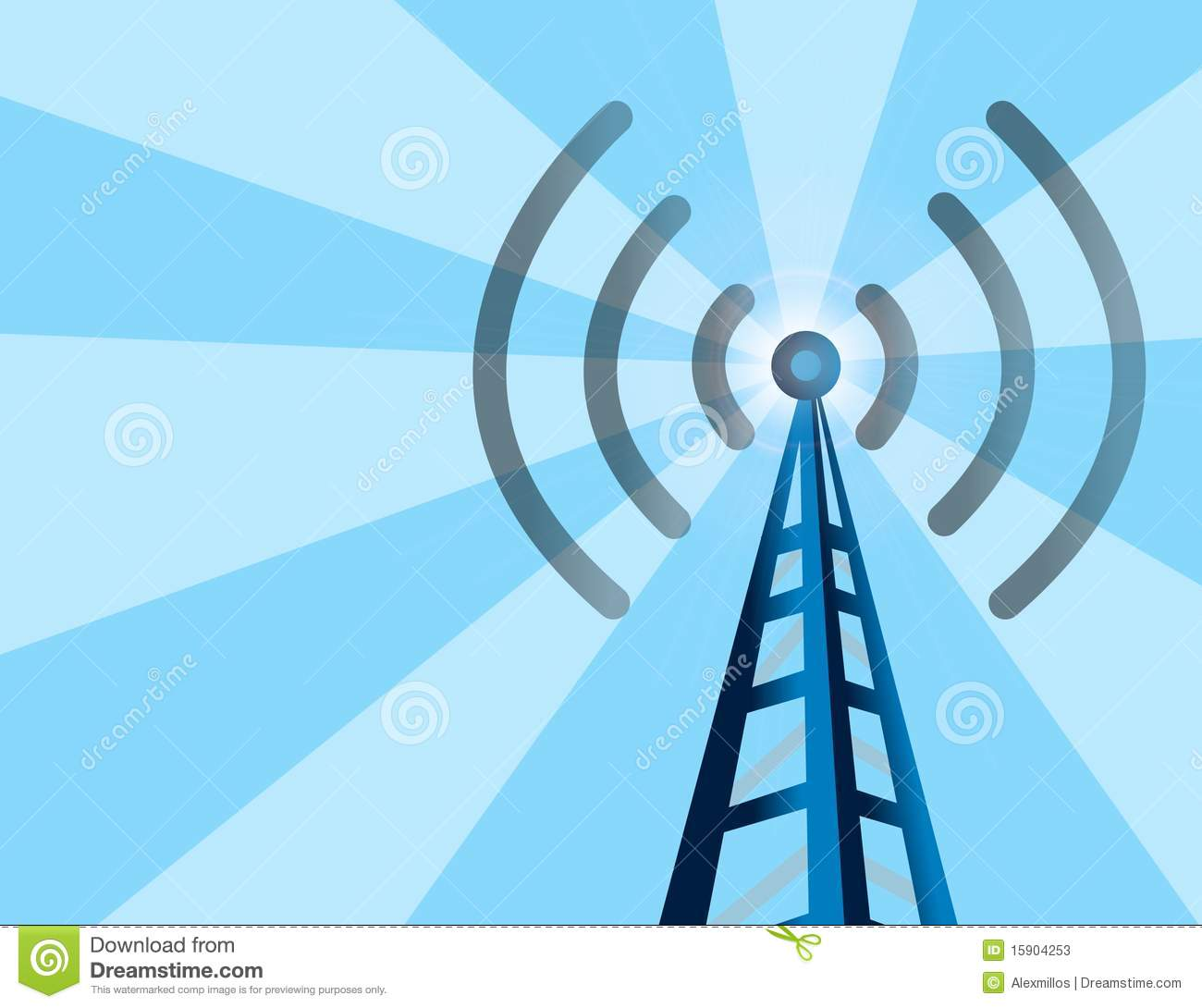 Wireless Tower Background Stock Vector. Illustration Of