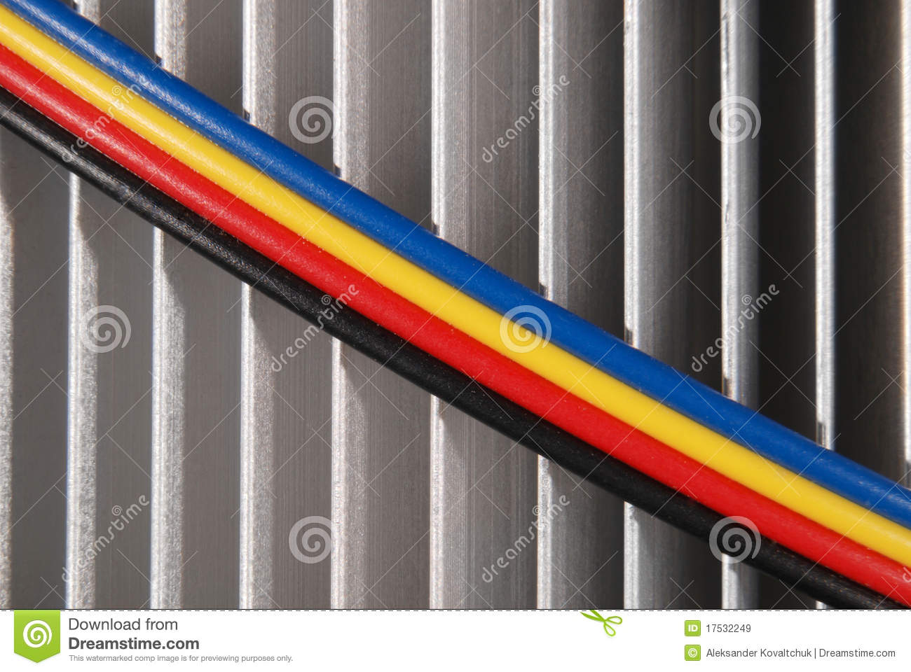 Wires Dark Blue Red Yellow And Black Stock Image - Image of close ...