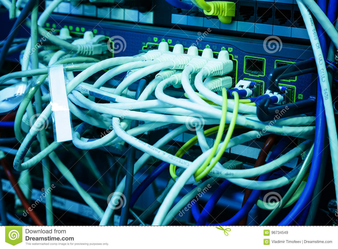 Wires Of Internet Router Connectors Network Server In Modern Data Wiring For Center
