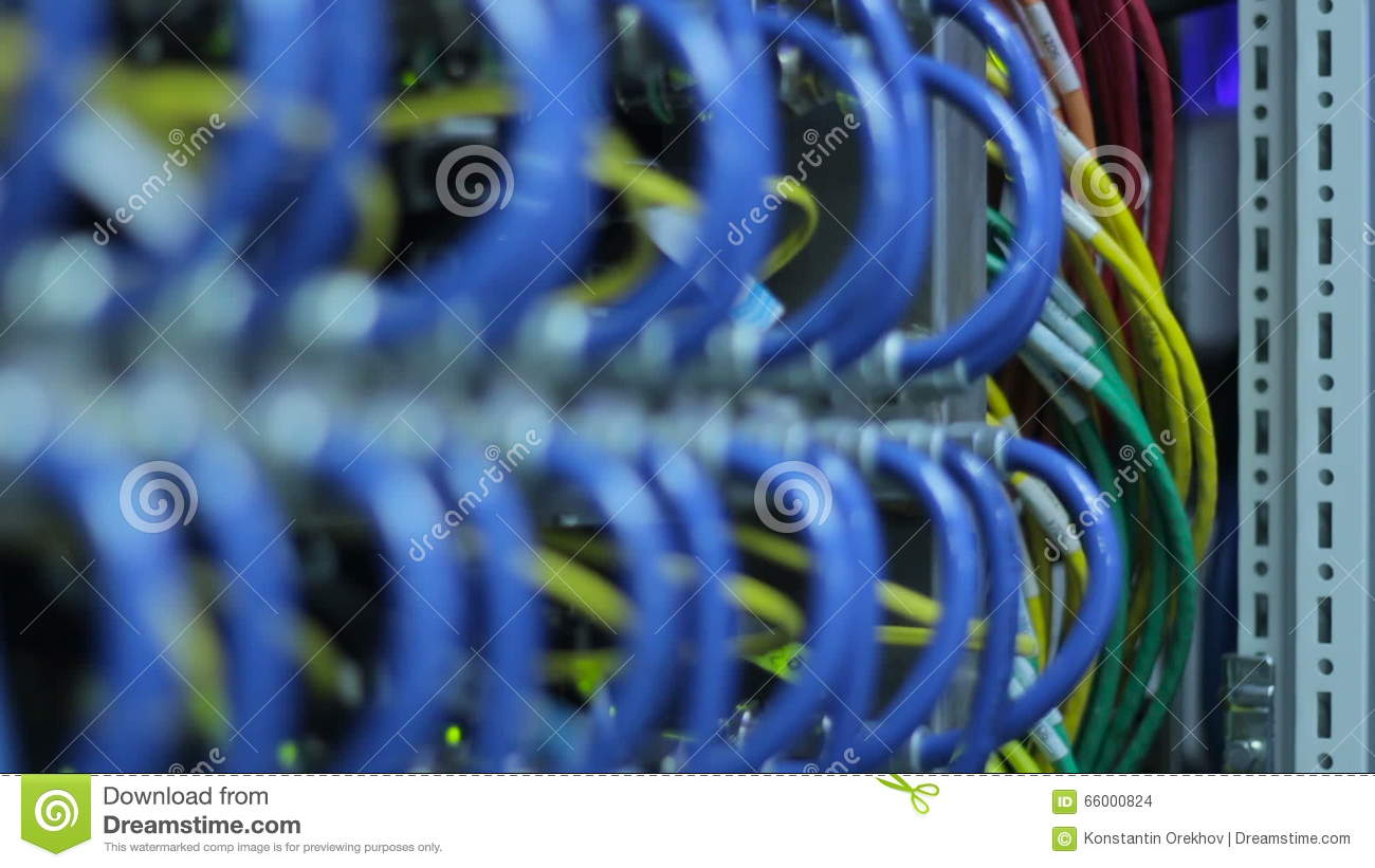 Wires, Lightbulbs And Computer Parts In Render Farm Stock Footage ...