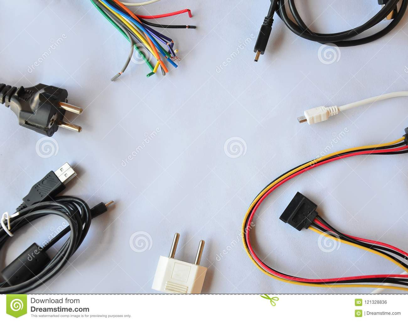 Wires on a white background, wire, cable, machinery.