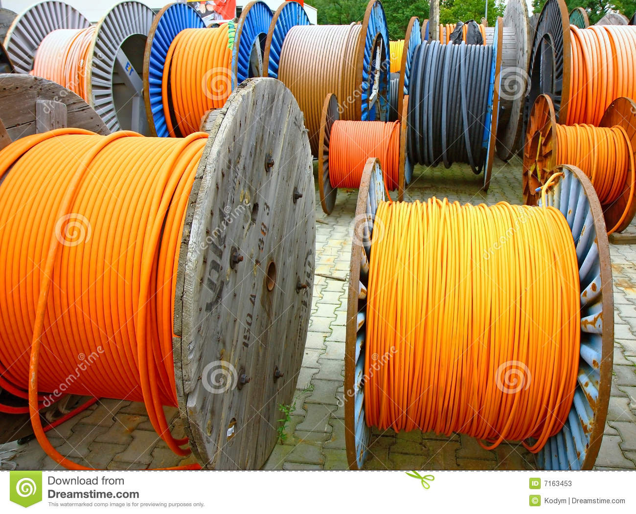 Wires on wooden spool stock image. Image of electronic - 7163453 on