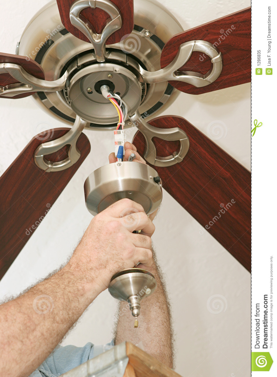 Wiring Ceiling Fan Stock Image  Image Of Professional