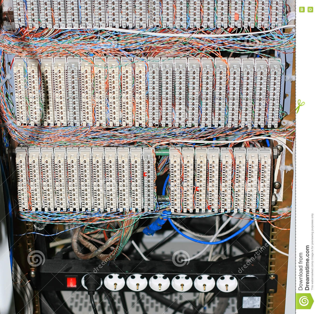 wiring closet stock image image of jack data connection 71463219 rh dreamstime com Backbone Model with Network Wiring Closet Electric Closet Systems