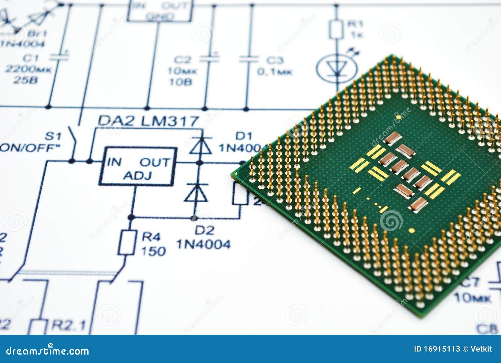 Wiring diagram and cpu stock photos image