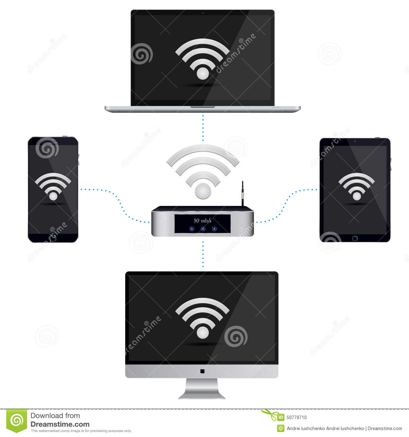 Wiring Diagram Gadgets To The Wi Fi Stock Illustration Vector Of Smartphone Pc And Tablet Router With A Signal On Isolated White Background