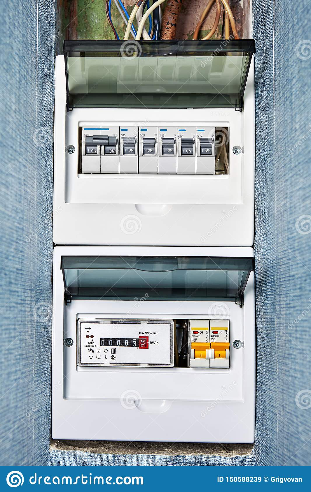 Wiring Diagram Of House Electrical Fuse Box Stock Image